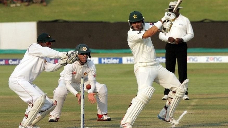 "Misbah Ul Haq bats for Pakistan against Zimbabwe at the Harare Sports Club on Wednesday. Pakistan's domestic team Faisalabad Wolves, led by Misbah, will compete in the Champions League in India, with manager Haroon Rasheed calling it a ""first step towards reviving Indo-Pak cricket""."