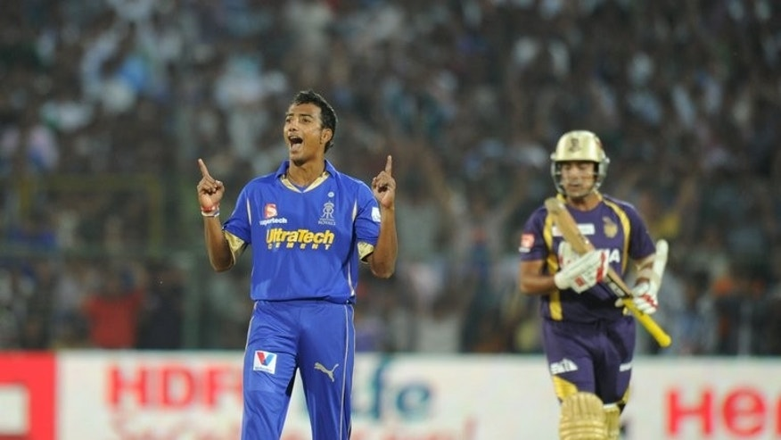 Indian crickerter Ankeet Chavan pictured during an IPL Twenty20 match in Jaipur on April 8, 2012. Chavan and three other players have been found guilty of spot-fixing during the Indian Premier League, a report said Friday.