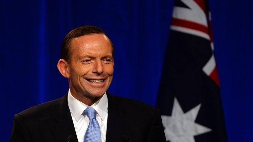 Tony Abbott delivers his acceptance address in Sydney after becoming Australian prime minister-elect on September 7, 2013.