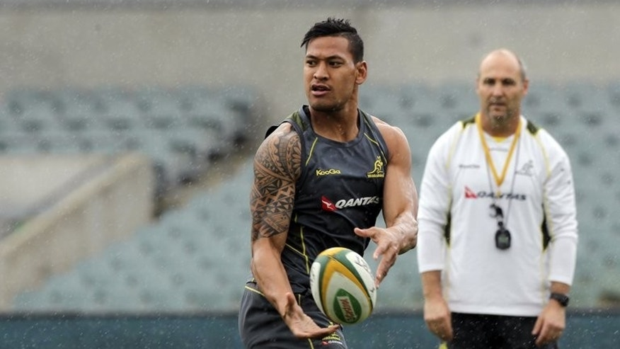 Australia's Israel Folau trains during the captain's run in preparation for the Rugby Championship match against Argentina at Paterson Stadium in Perth on September 13, 2013.??