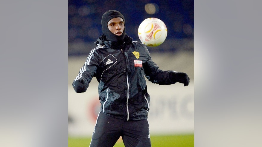 Samuel Eto'o at at Anzhi Makhachkala training session in Hanover, northern Germany on February 20. The Chelsea boss confirmed Eto'o will be in the match-day squad and can expect to feature at Goodison Park, although he stopped short of revealing if the former Barcelona star, who played under Mourinho at Inter Milan, would be in his starting line-up this weekend.