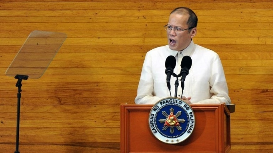 Philippine President Benigno Aquino at the annual joint session of Congress in Manila on July 22, 2013. Aquino on Friday visited Zamboanga city, where government troops are battling followers of a Muslim rebel leader opposed to peace talks.