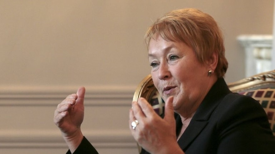 Quebec's Prime Minister Pauline Marois speaks during an interview at the Hotel Westin on October 16, 2012 in Paris.