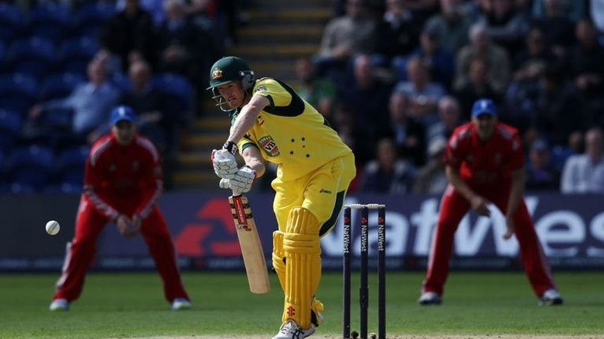 Australia's George Bailey plays a shot during the fourth one day international between England and Australia in Cardiff on September 14, 2013. Bailey top scored with 87 as Australia struggled to make a competitive first innings total.