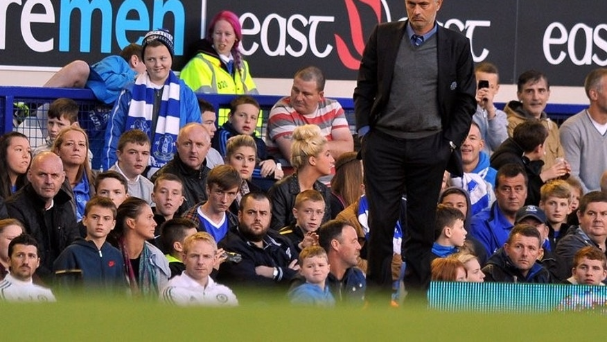 Chelsea's Portuguese manager Jose Mourinho watches the action during the English Premier League football match between Everton and Chelsea at Goodison Park in Liverpool, northwest England on September 14, 2013. Everton won 1-0.