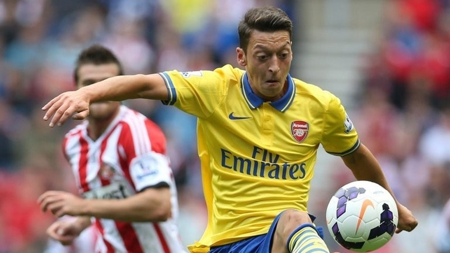 Arsenal midfielder Mesut Ozil during the Premier League match against Sunderland at the Stadium of Light in Sunderland, northeast England, on September 14, 2013.