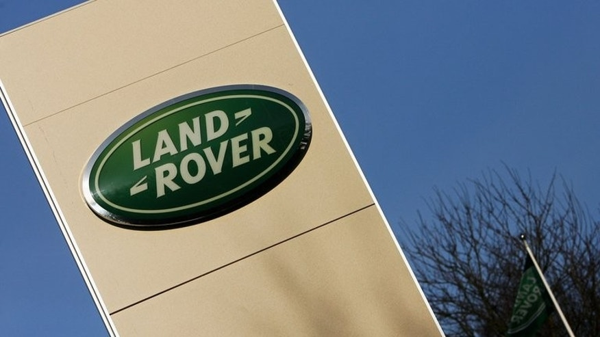A sign is pictured at a Land Rover UK Production Facility in Solihull, in central England. Britain is accelerating away from its European competitors in the car-making sector with investment flowing into the factories of Nissan and Jaguar Land Rover as Chinese and American demand drives sales.