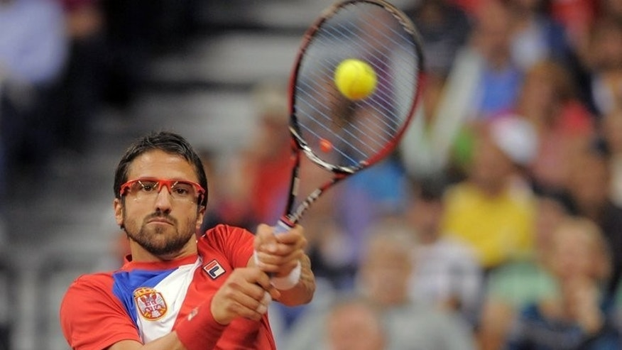 Serbia's Janko Tipsarevic during his Davis Cup match against Canada's Milos Raonic at the Belgrade Arena on September 13, 2013.