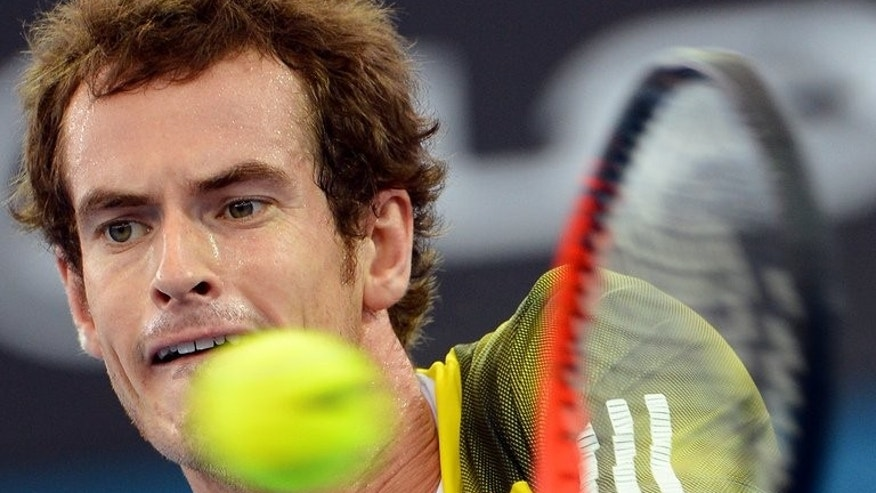 Andy Murray, pictured in Brisbane on January 6, 2013, has secured Britain's return to the Davis Cup World Group after a five-year absence when he defeated Croatia's Ivan Dodig 6-4, 6-2, 6-4 in a playoff rubber at Umag.