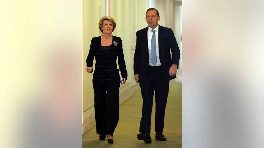 Australian Prime Minister-elect Tony Abbot and Julie Bishop in Canberra on September 13, 2013.