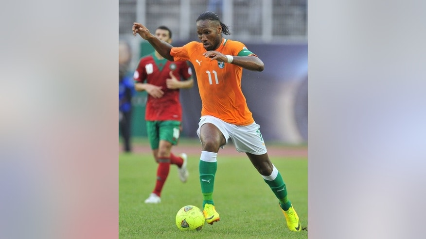 Ivory Coast captain Didier Drogba, seen in action in Abidjan on September 7, 2013. His team will draw comfort from their dominance of Senegal in a 2013 Cup of Nations qualifier.