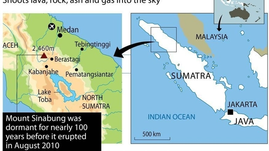 Map locating the Mount Sinabung volcano in Indonesia. Nearly six thousand people have fled their homes on Indonesia's Sumatra island after a huge volcanic eruption at the weekend, as the volcano continued to belch out more smoke.