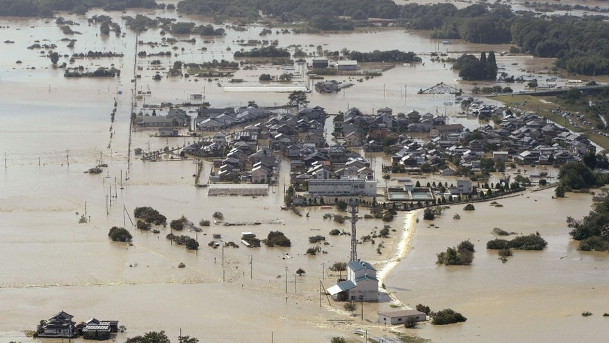 Sept. 16, 2013 - A residential area in Fukuchiyama, Kyoto Prefecture, is flooded by Typhoon Man-yi, one of the most powerful storms to lash Japan this season.