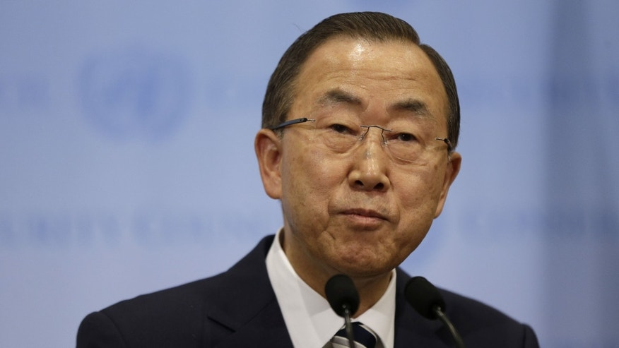 "Sept. 16, 2013 - UN Secretary-General Ban Ki-moon speaks to reporters after attending a Security Council meeting about Syria at United Nations headquarters. U.N. inspectors said Monday there is ""clear and convincing evidence"" that chemical weapons were used on a relatively large scale in an attack last month in Syria that killed hundreds of people."