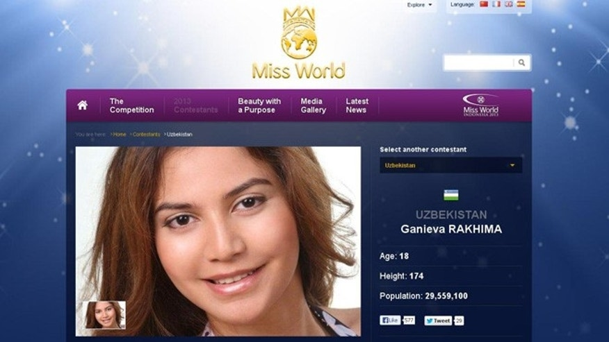 A screenshot of Rakima Ganieva's profile on Miss World's website.