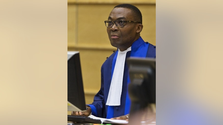 Judge Chile Eboe-Osuji sits in the courtroom before the trial against William Ruto at the International Criminal Court in The Hague on September 10, 2013.