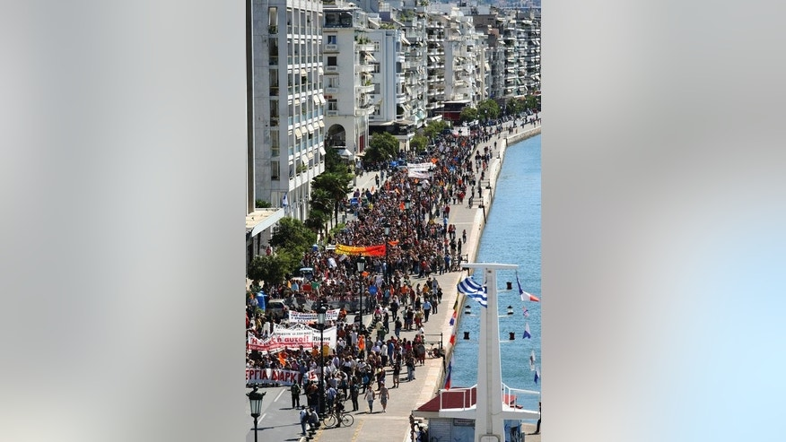Teachers march in Thessaloniki on Weednesday during a 48-hour civil servants strike. The latest two-day strike was called by Greece's union of civil servants, ADEDY.