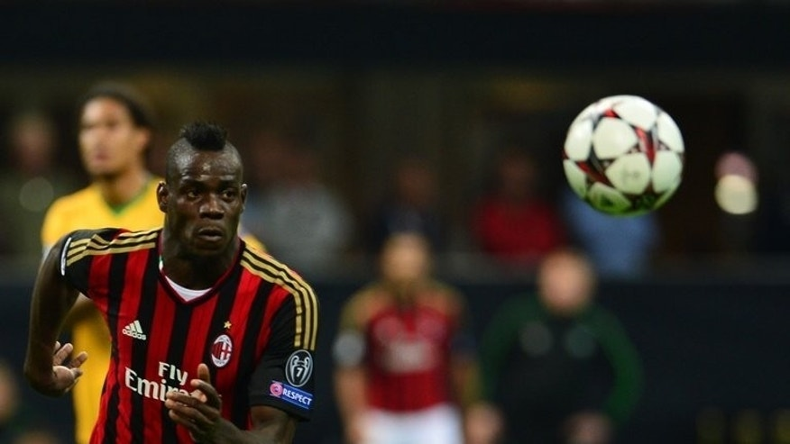 AC Milan's Mario Balotelli during the Champions League match against Celtic Glasgow at the San Siro Stadium in Milan on September 18, 2013.