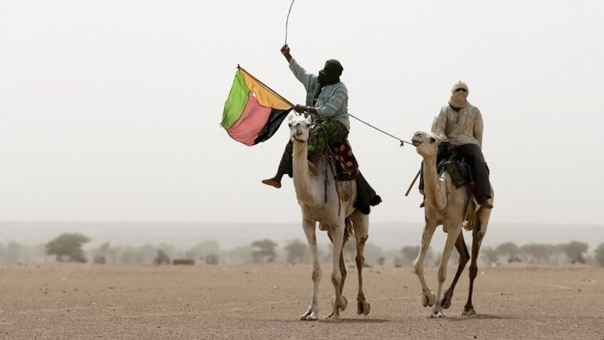 A Tuareg man holds the flag of the National Movement for the Liberation of Azawad (MLNA) during a demonstration in Kidal, northern Mali on July 28, 2013.
