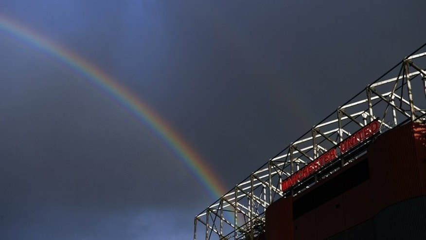 A rainbow above Manchester United's Old Trafford ground on October 19, 2010.