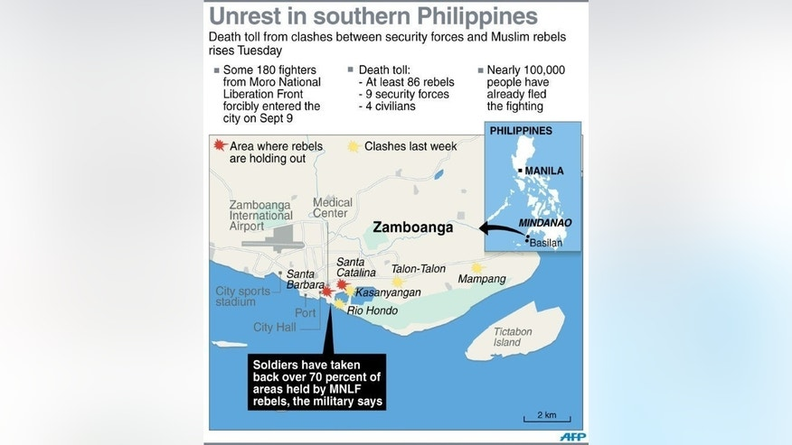 Map locating Zamboanga on the southern Philippines. Philippine soldiers are pursuing heavily armed Muslim rebels through the streets and homes of a major city, warning they would be killed or captured unless they surrendered.