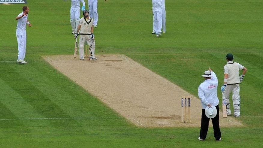 Chris Rogers is given out, caught-behind by umpire Tony Hill in Chester-le-Street on August 10. Wednesday's statement on decision reviews from the ICC came after England's recent 3-0 Ashes series win at home to Australia was beset by numerous rows over the use of DRS, with both sides unhappy at different times.