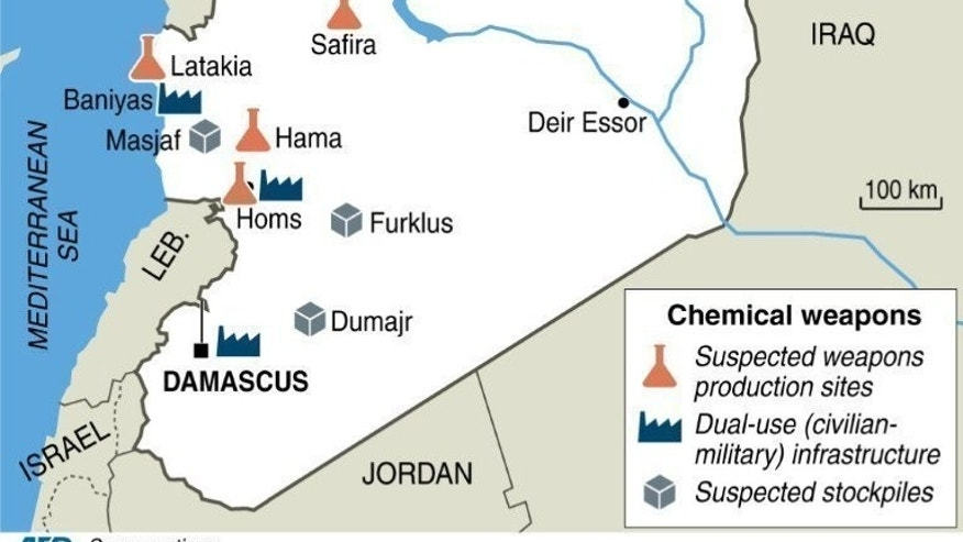 Map of Syria locating suspected chemical weapons sites. Russia says the Syrian regime had handed over new evidence implicating rebels in a chemical attack outside Damascus, as divisions reemerged between Moscow and the West after a landmark deal to eliminate Syria's chemical weapons.