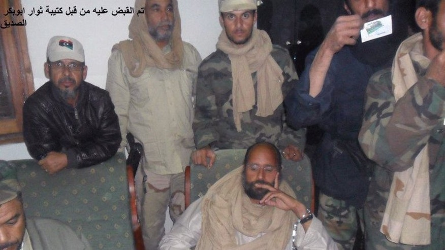 Seif al-Islam, the son of former Libyan leader Moamer Kadhafi, is shown after he was captured in southern Libya, on November 19, 2011.