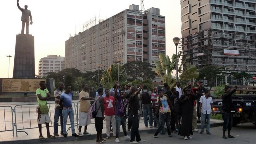 A small group of young Angolans demonstrate at the place of Independence in the centre of Luanda on May 27, 2013.