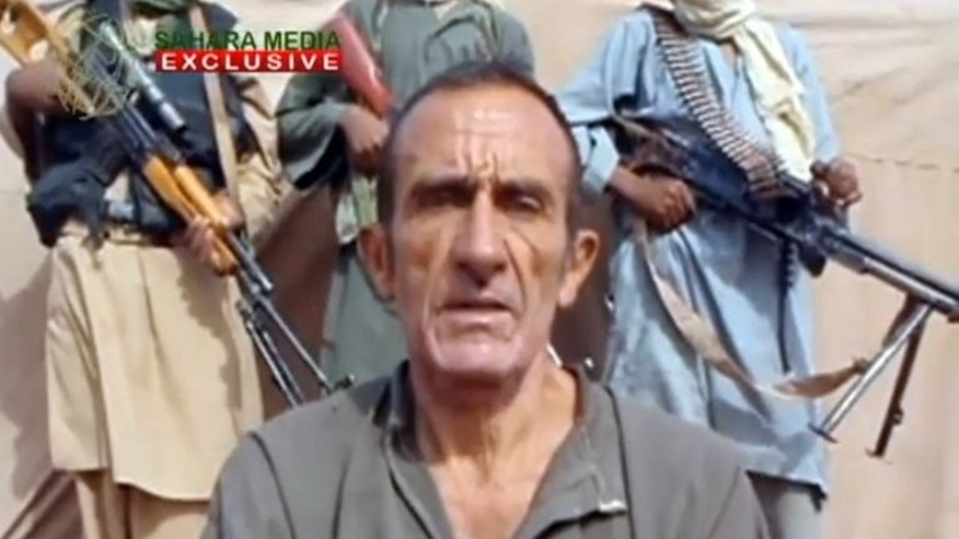 An image grab on September 8, 2012 from a a video uploaded today to the Mauritanian news website Sahara Medias shows Daniel Larribe, one of the six French hostages held by Al-Qaeda in North Africa.