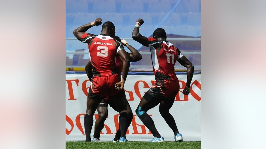 Kenyan players celebrate scoring against Samoa at the Rugby World Cup Sevens 2013 in Moscow in June 2013. The Safaricom Sevens gets underway in Nairobi on Friday