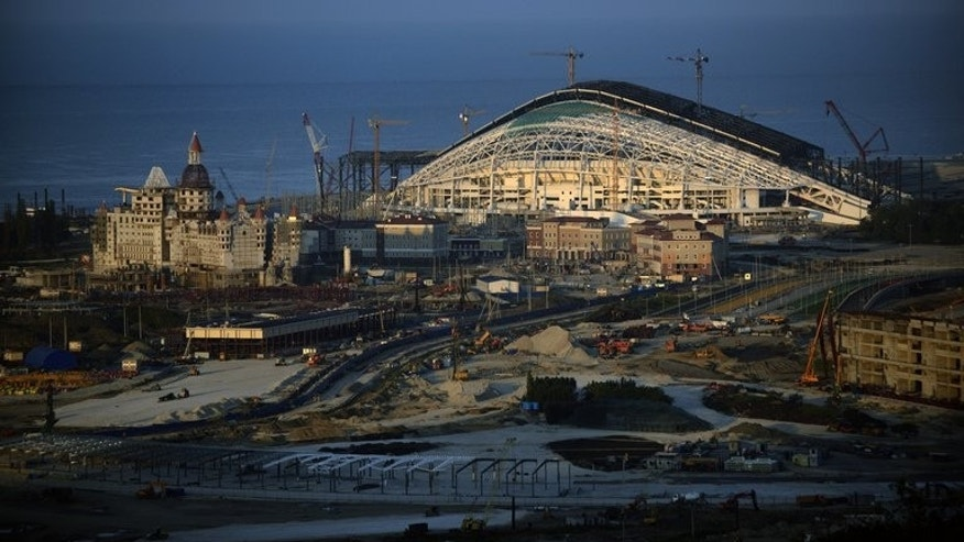 The main Olympic Stadium under construction at the Olympic Park in Adler, near Sochi, on August 22, 2013.