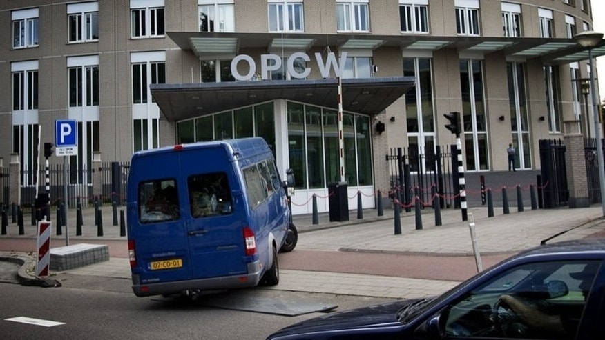 The headquarters of the Organisation for the Prohibition of Chemical Weapons (OPCW) in The Hague, on August 31, 2013. The world's chemical weapons watchdog has indefinitely postponed Sunday's meeting to discuss a Russia-US plan to destroy Syria's arsenal.