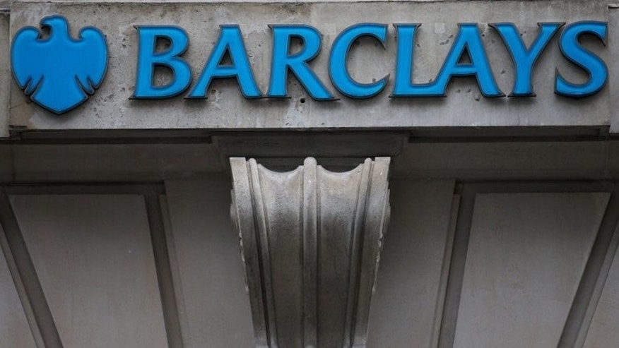 A branch of Barclays bank in central London, pictured February 11, 2013. British police said Friday they have arrested eight men after a gang stole ??1.3 million (1.5 million euros, $2.09 million) from Barclays bank by taking control of a branch computer system.
