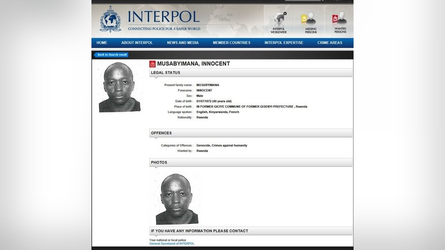 A picture released by Interpol shows the red notice issued as part of an international wanted persons alert Innocent Musabyimana on January 22, 2013.