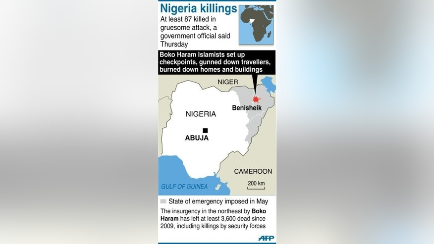 Graphic map showing the area in northeastern Nigeria where Boko Haram Islamists killed at least 87 people. Nigeria's military sent reinforcements to the remote northeastern town of Benisheik after Boko Haram Islamists stormed the area, burnt dozens of homes and slaughtered at least 87 people.