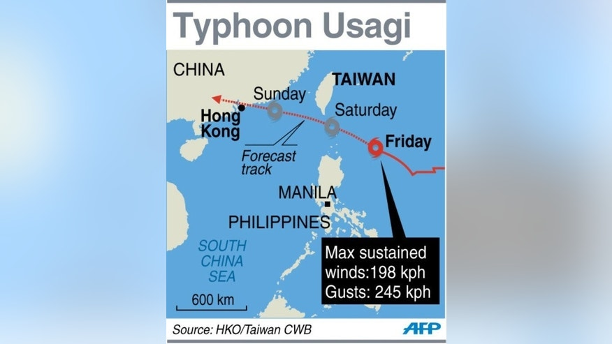 Graphic showing the forecast track of Typhoon Usagi heading towards southern Taiwan and Hong Kong on Friday.