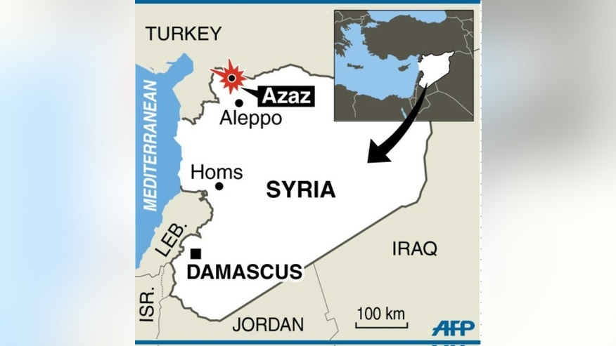 Map locating Azaz, a Syrian border down which fighters allied to Al-Qaeda have seized from mainstream rebels. Syria's opposition National Coalition denounced ISIS's seizure of the town of Azaz on the border with Turkey on Wednesday after an hours-long firefight with FSA fighters and its attempt to take control of the Bab as-Salameh border crossing.
