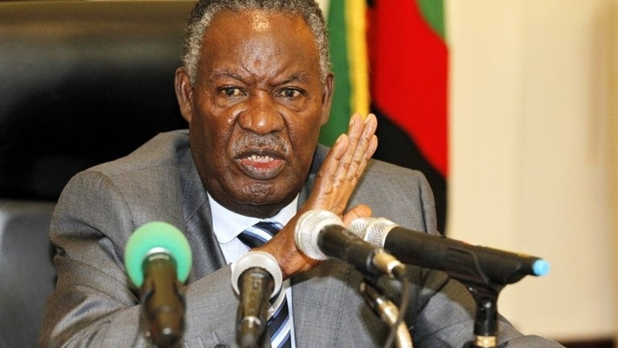 Zambia's President Michael Sata addressing the press at State House in Lusaka on April 30, 2012. Sata dismissed growing opposition concerns that he wants to turn Zambia into a single-party state, amid accusations of a crackdown on his political opponents.