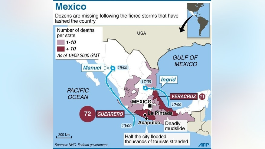 A map locating the areas worst affected by severe weather in Mexico.