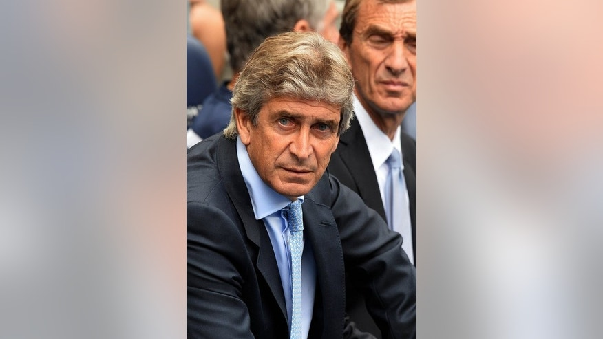 Manchester City's Chilean manager Manuel Pellegrini at the Etihad Stadium in Manchester, England, on August 31, 2013.