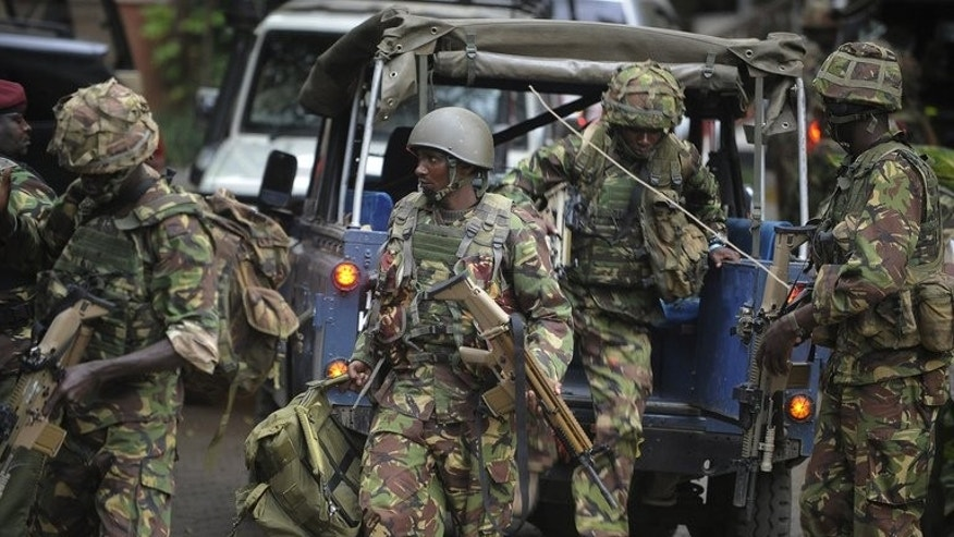 Soldiers from a special unit arrive outside the Westgate shopping mall in Nairobi, Kenya, on September 21, 2013 where an attack by gunmen left at least 39 people dead, including two Canadians, and 150 wounded
