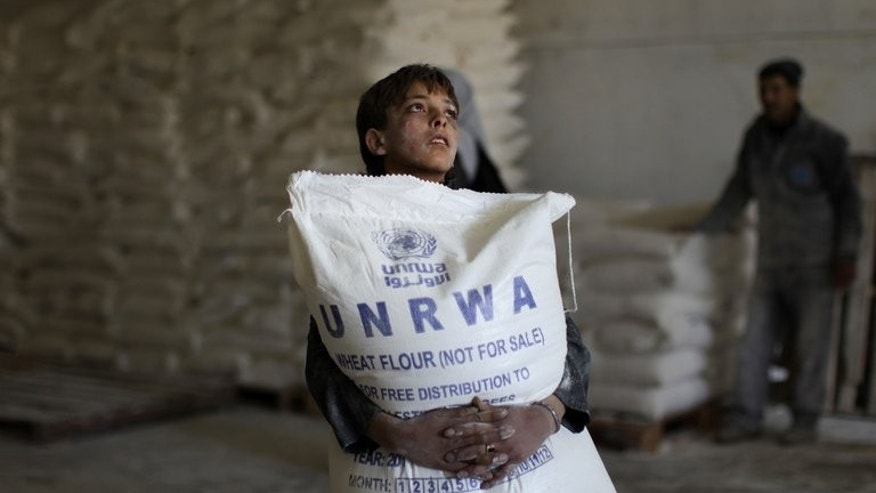 A Palestinian boy holds a sack of flour at a United Nations Relief and Works Agency (UNRWA) aid distribution centre in Gaza City, on April 10, 2013. Israel has answered EU anger over the confiscation of humanitarian aid for Palestinians with accusations diplomats at the scene defied a court order and one struck a policeman.