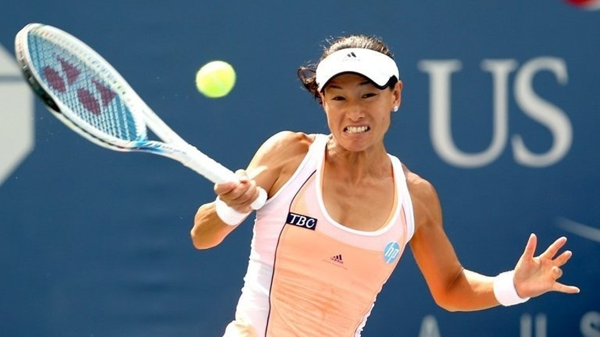 Kimiko Date-Krumm returns a shot during the US Open in New York on August 28, 2013. Date-Krumm won her opening match at the Pan Pacific Open on Monday, then virtually ruled out playing in Tokyo at the 2020 Olympics when she will be almost 50.