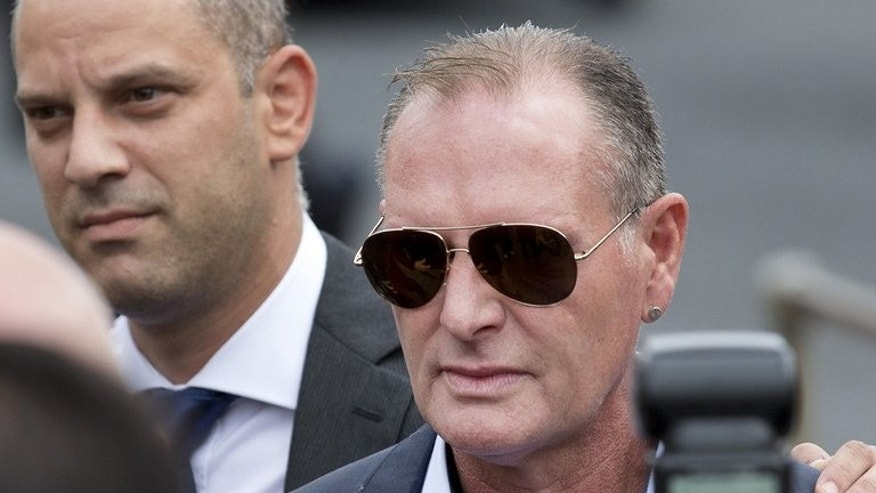 Former England footballer Paul Gascoigne arrives at Stevenage Magistrates Court, north of London, on August 5, 2013.