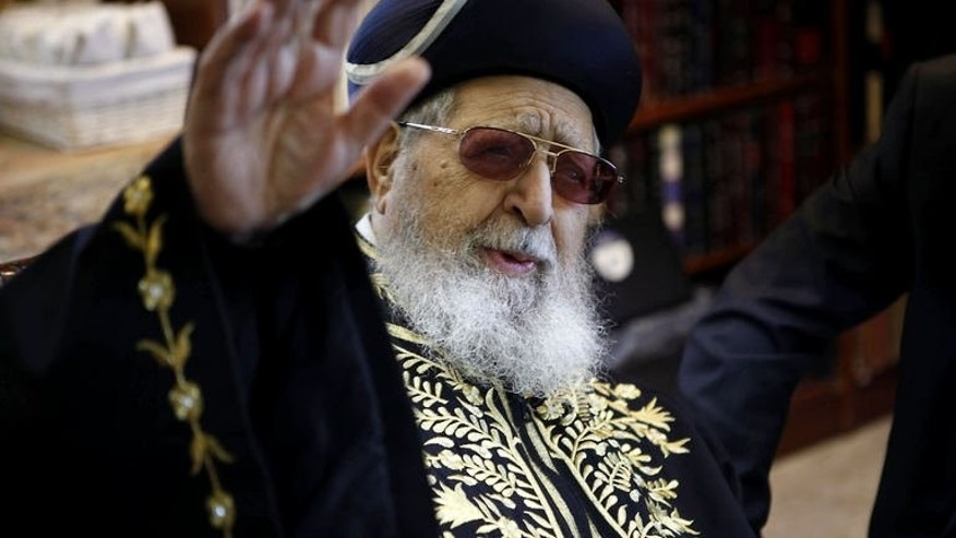 A file picture dated December 11, 2011 shows rabbi Ovadia Yosef, the spiritual leader of the Israeli ultra-Orthodox Shas party, during a meeting in Jerusalem.