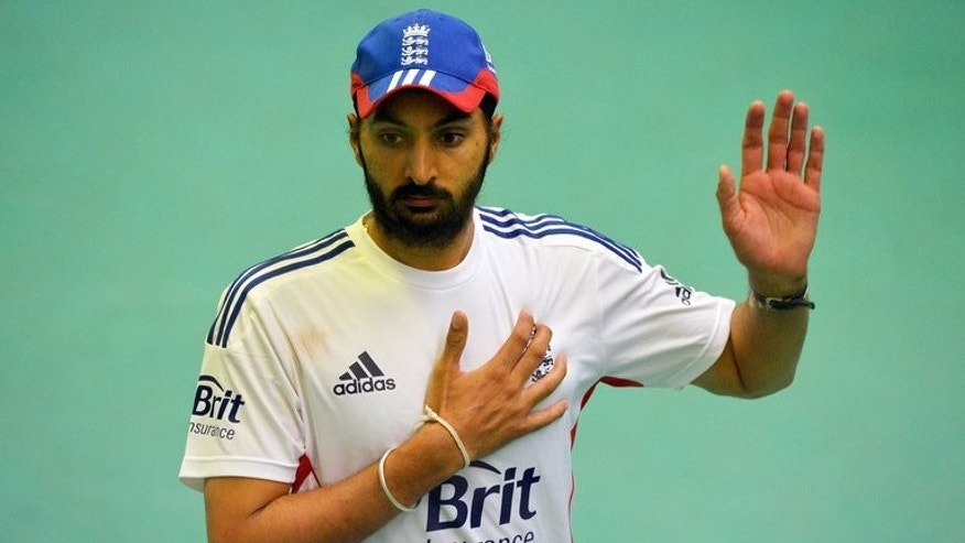 England cricketer Monty Panesar takes part in a training session at Old Trafford in Manchester on July 31, 2013. Panesar was given a chance to revive his England career after being named in a 17-man squad for the forthcoming Ashes tour of Australia.