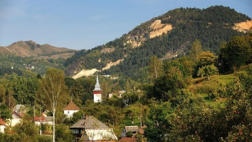 A general view of Rosia Montana village, 430 kms west from Bucharest, which is based on one of the largest gold deposits in Europe, September 20, 2011.