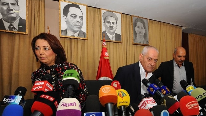 Tunisian mediators give a press conference on the crisis on September 21, 2013 in Tunis.