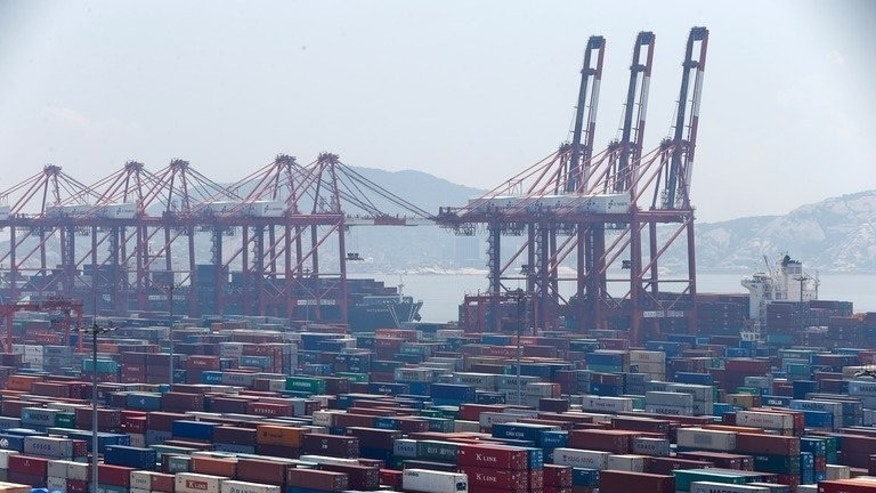 Containers in Yangshan port, Shanghai, one of the districts to be included in Shanghai's free trade zone, on July 30, 2013.